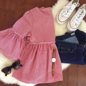 Loving all things ruffle sleeves lately!And this gingham cutie ishellip