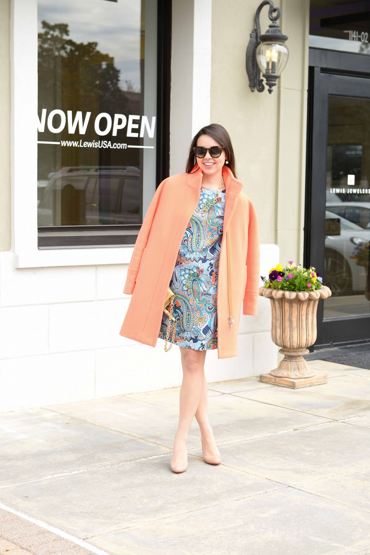Orange Coat + Paisley Dress