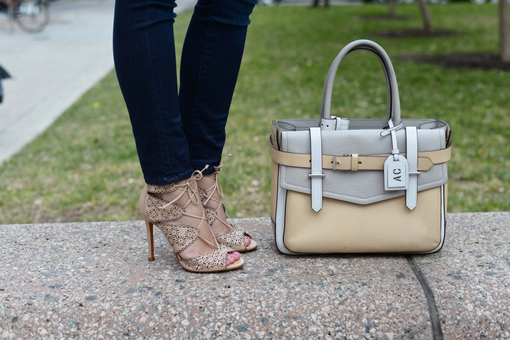 Schutz perforated heels + Reed Krakoff tote