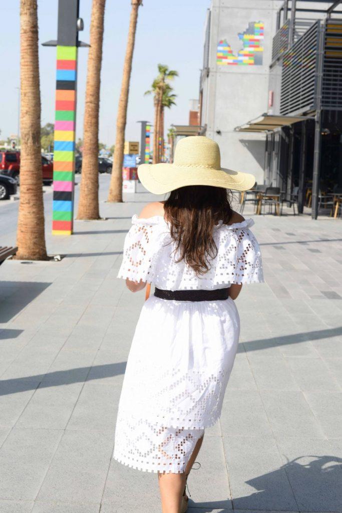 off-the-shoulder white eyelet dress
