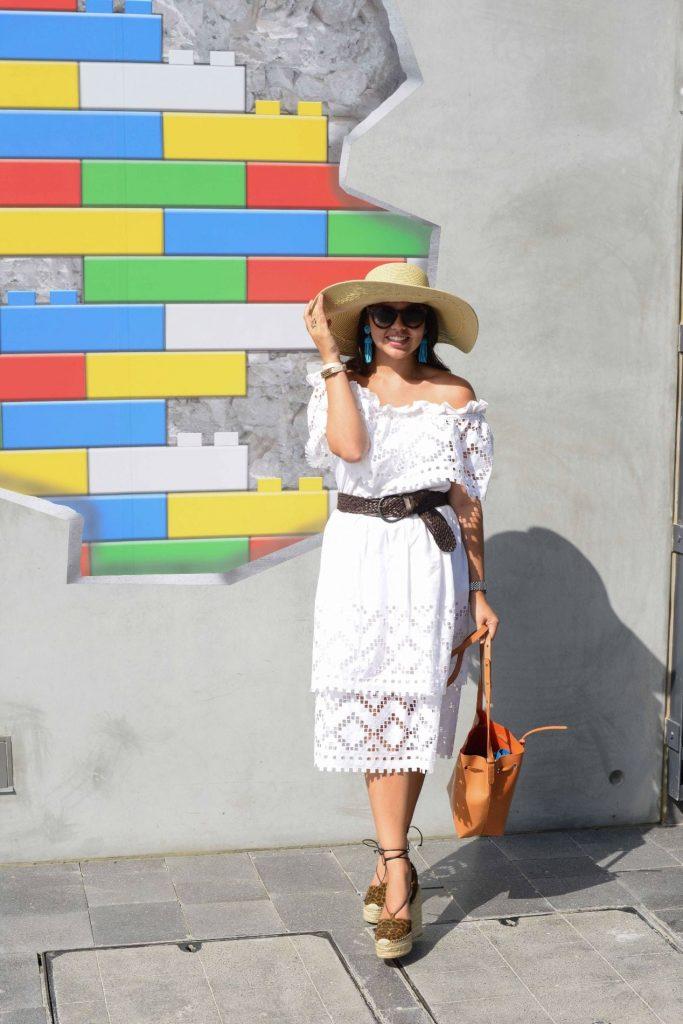 Oversized hat & white eyelet dress