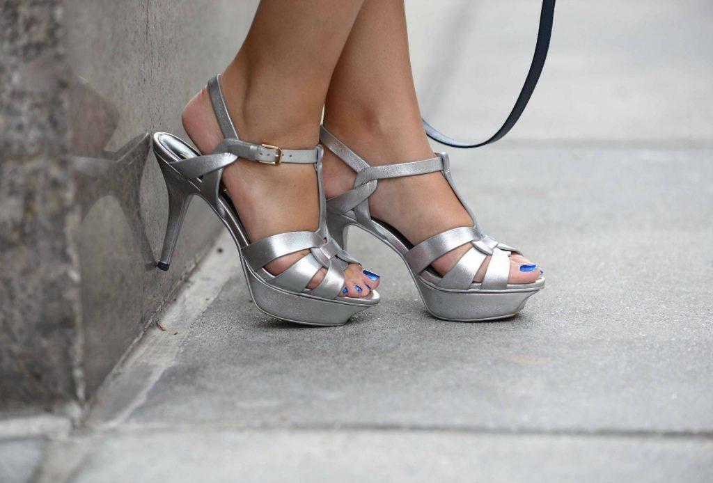 YSL tribute metallic sandals
