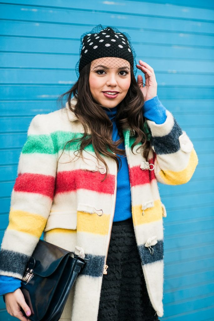 Vintage primary color striped coat