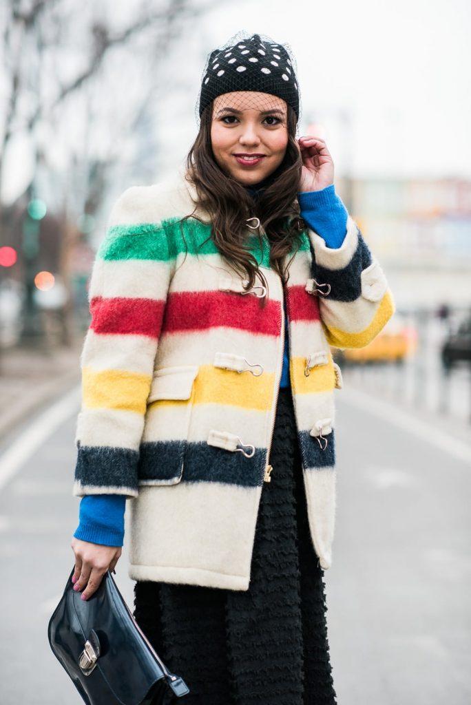 wool striped toggle coat