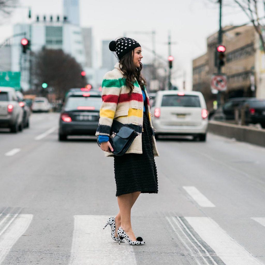 striped coat and polka dots