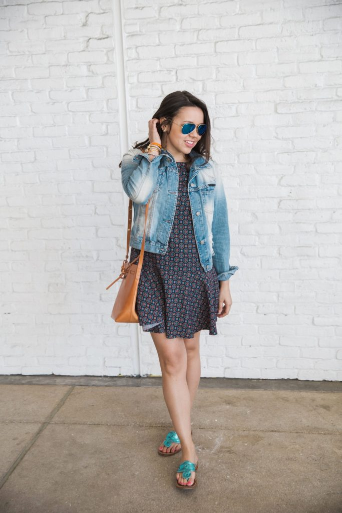 Denim Jacket + Drop Waist Dress