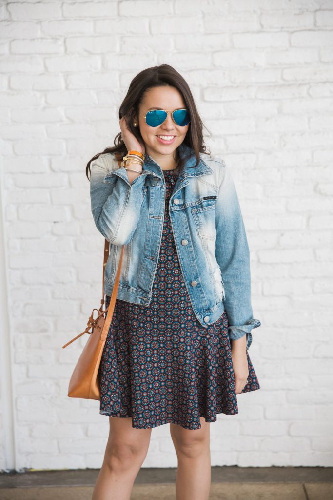 Denim Jacket Drop Waist Dress Adored By Alex