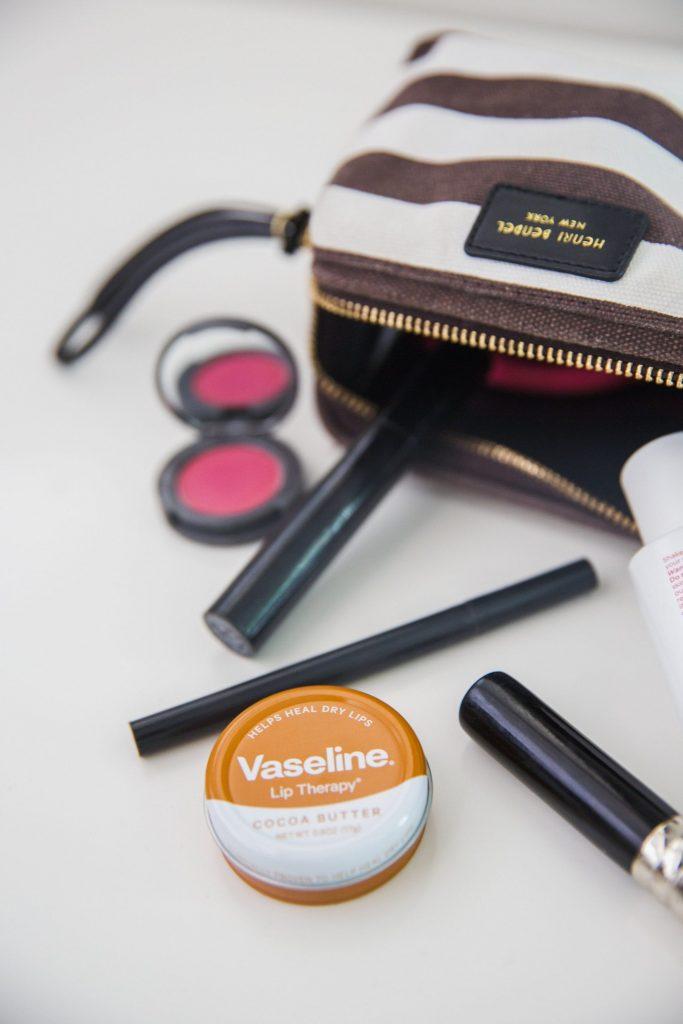 makeup and striped makeup bag