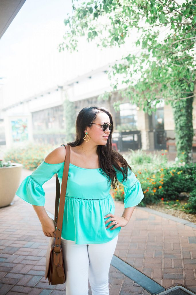 bell-sleeve cold-shoulder blouse