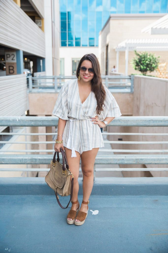 striped romper and suede wedges