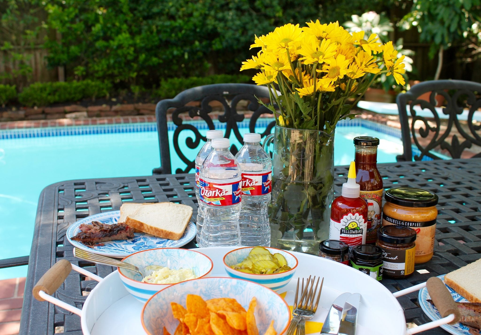 Summer outdoor meal with Ozarka water