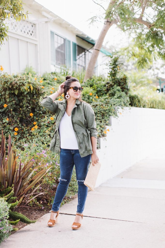 Military jacket outfit - Montecito, California style