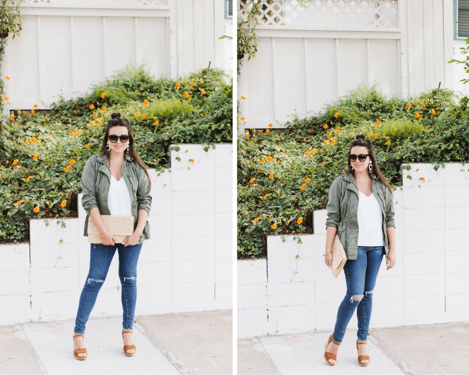 how to wear an olive green military jacket for fall