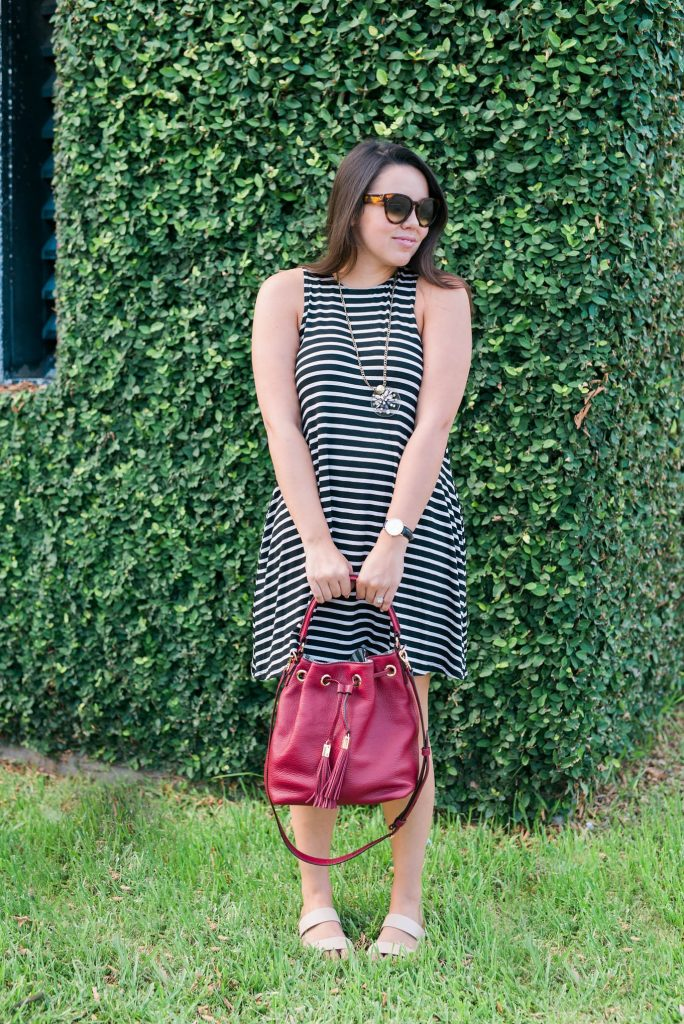 cranberry red bucket bag