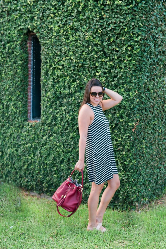 black and white striped tank dress