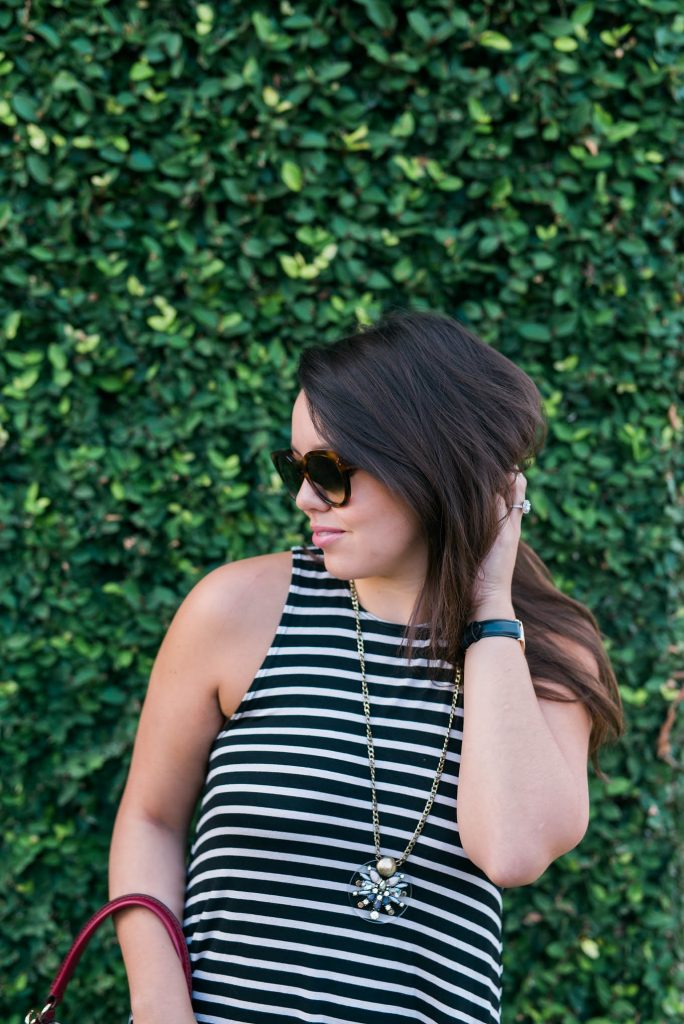 high-neck striped dress