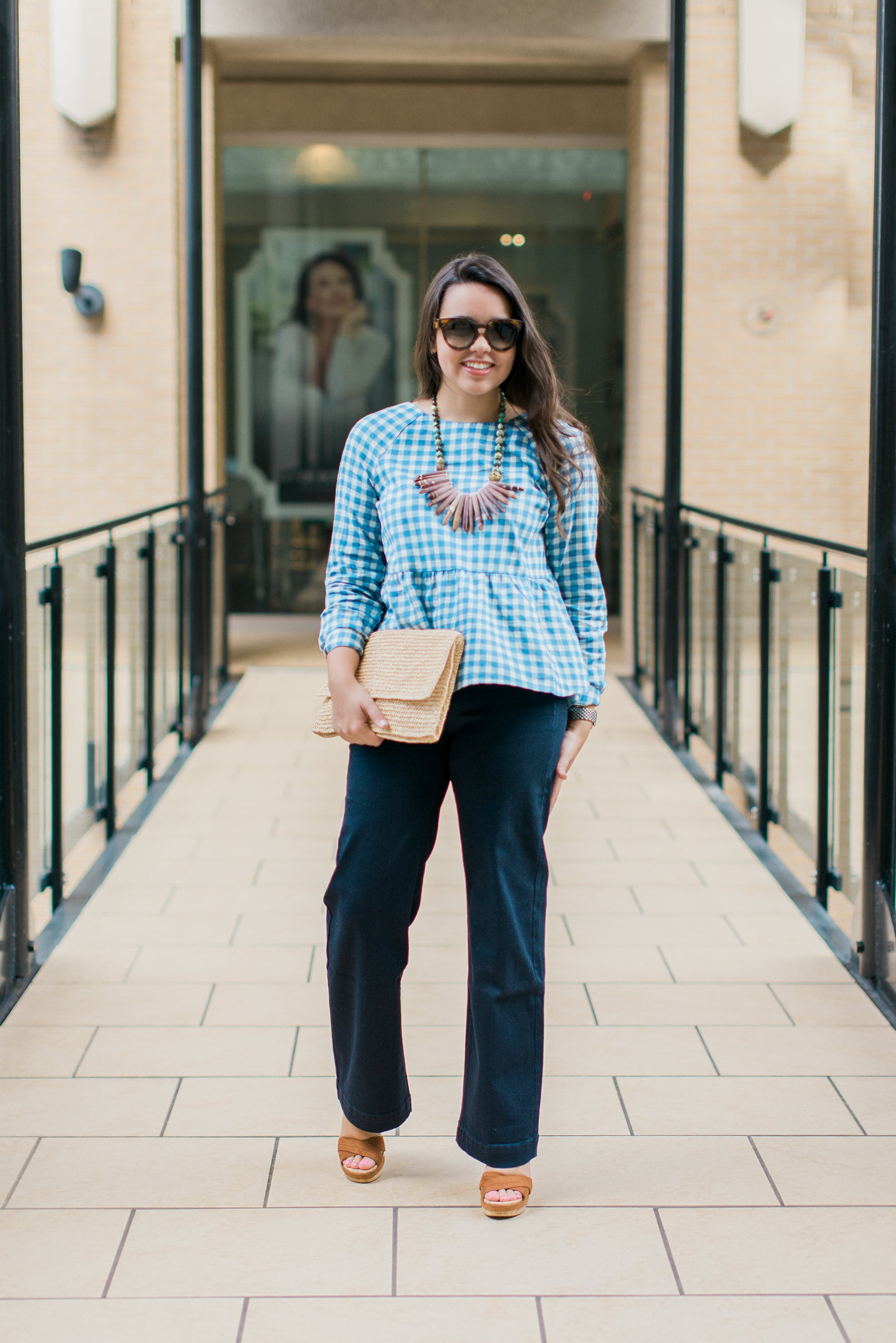 peplum gingham blue blouse