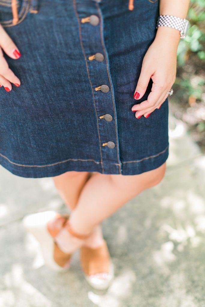 dark wash button front blue jean skirt
