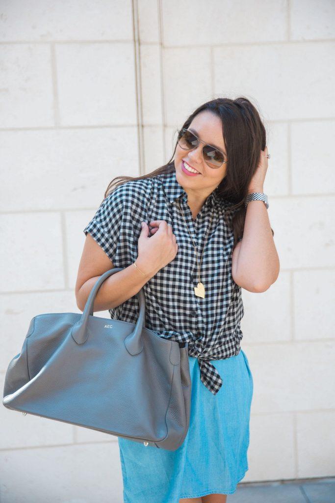 Grey handbag and gingham check button-down