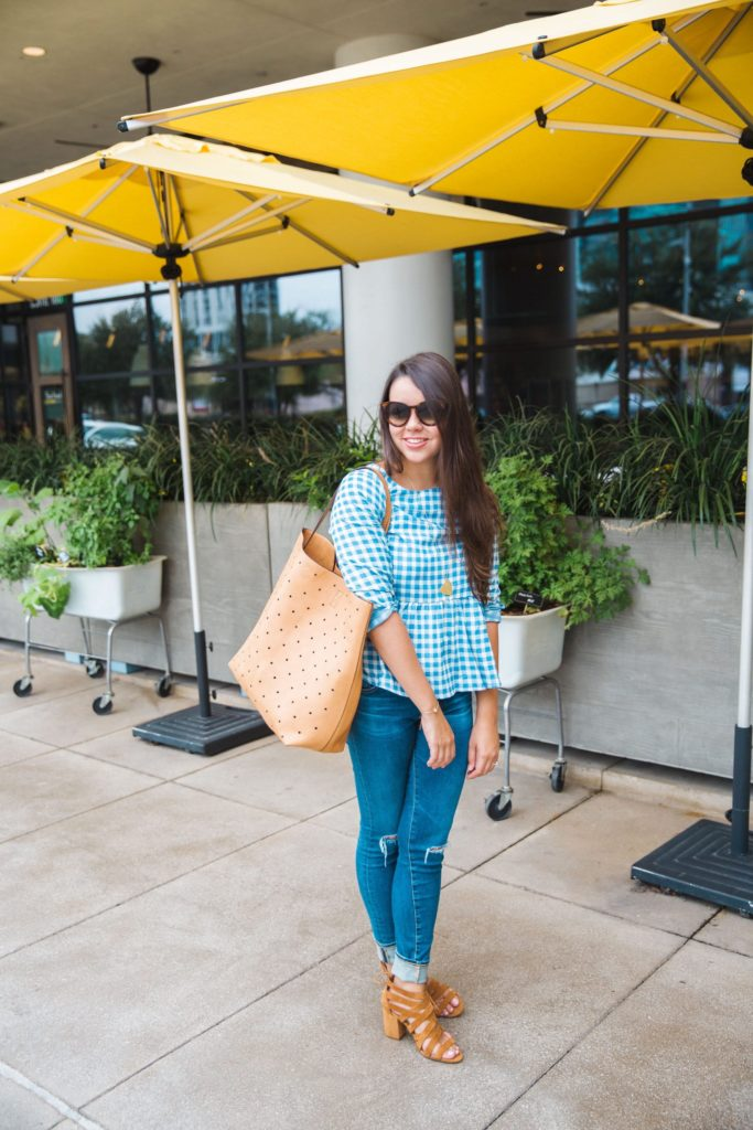 Gingham Peplum Blouse