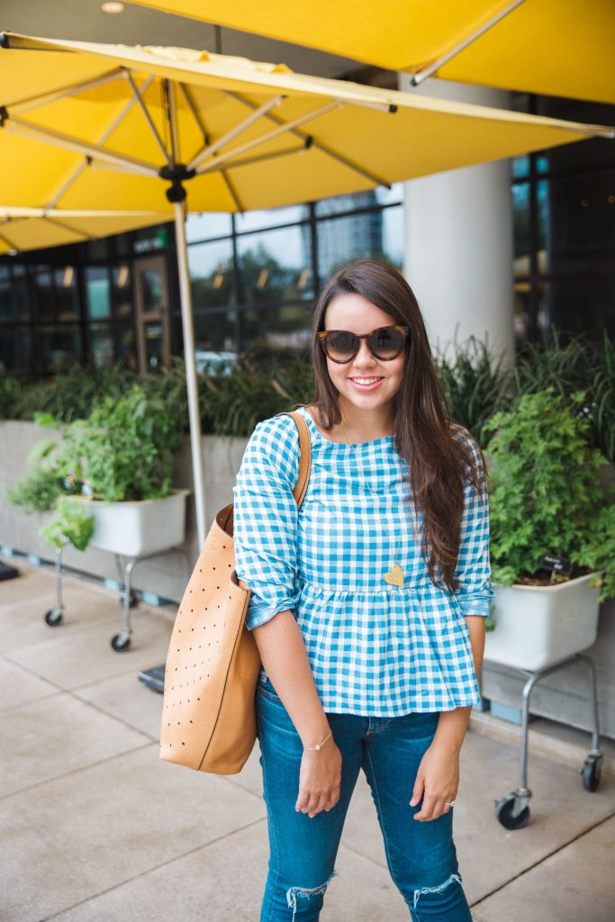 Gingham peplum blouse - Tuckernuck