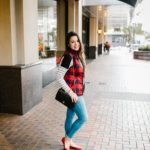 Old Navy plaid vest and striped tee