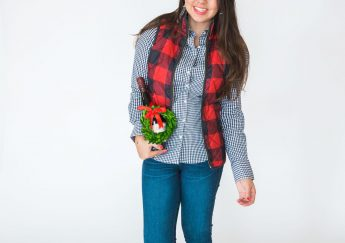 Pattern mixing buffalo check and gingham check