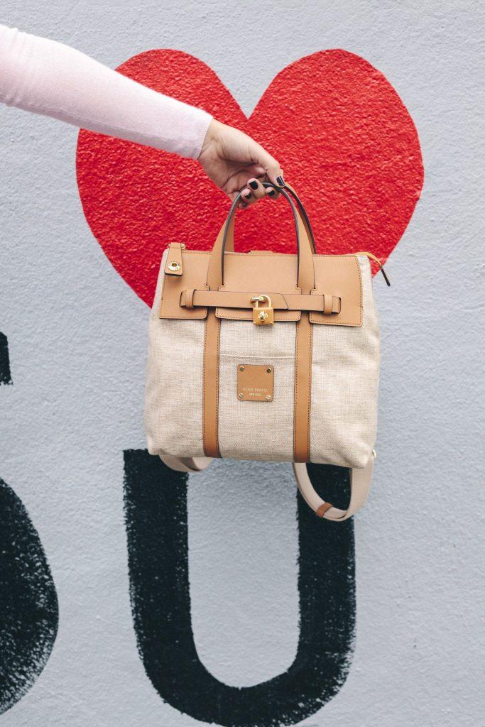 Henri Bendel canvas backpack