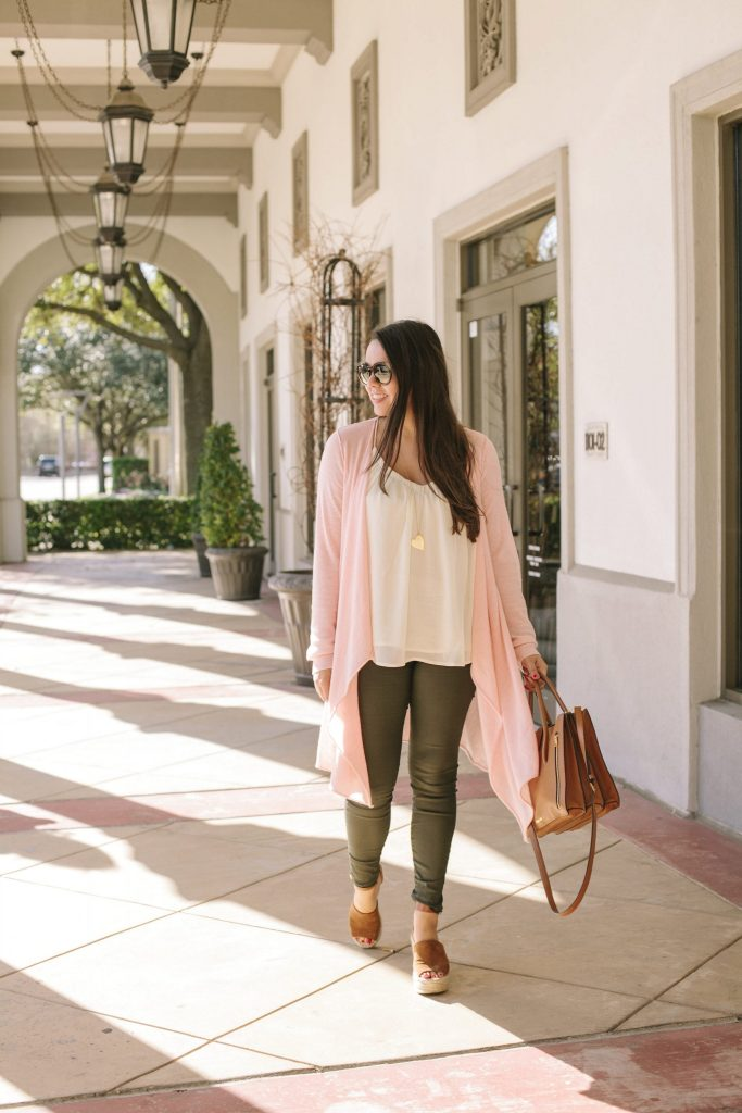 Cashmere pink duster sweater