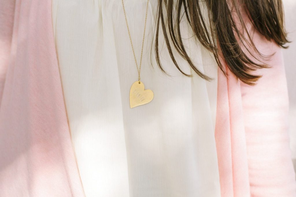 Gold monogrammed heart necklace
