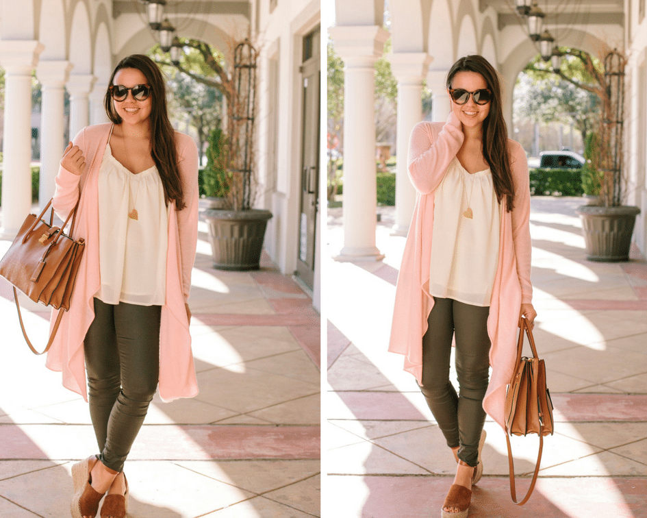 Pink cashmere duster length sweater
