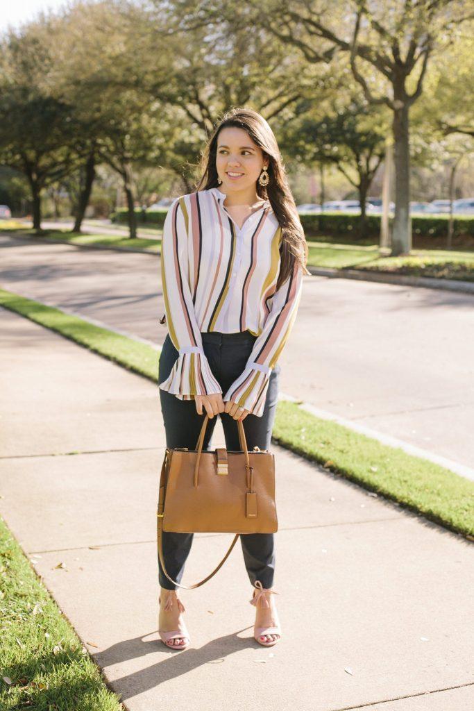 Ann Taylor stripe pleated cuff blouse