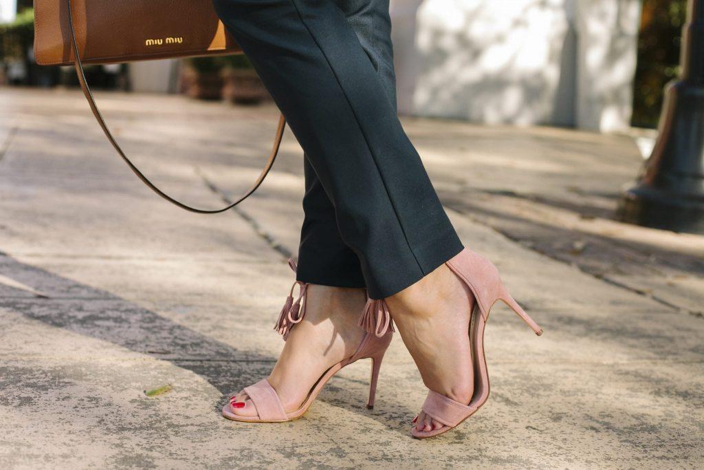 blush suede heeled tassel sandals