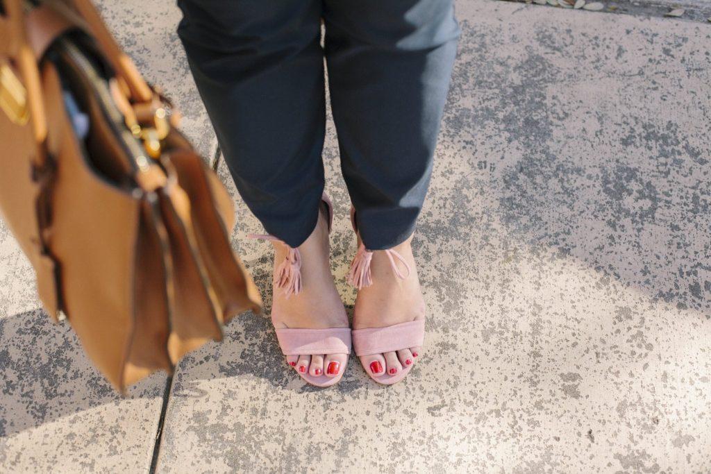 blush pink suede sandals