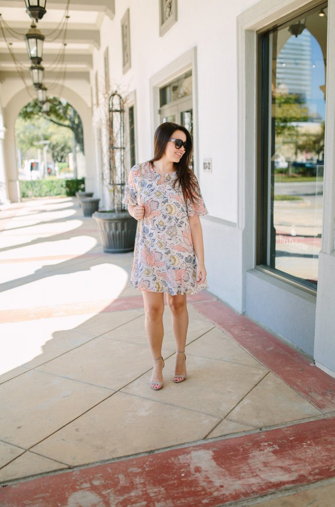 LOFT Shimmer floral flounce dress