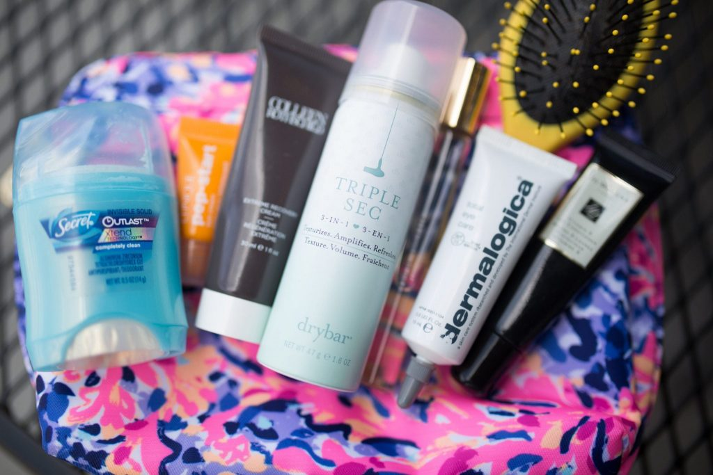 travel sized cosmetic products - how to pack beauty products for vacation
