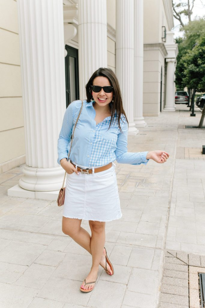 Baby Blue gingham cocktail shirt