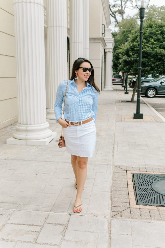 gingham button-down shirt with denim skirt