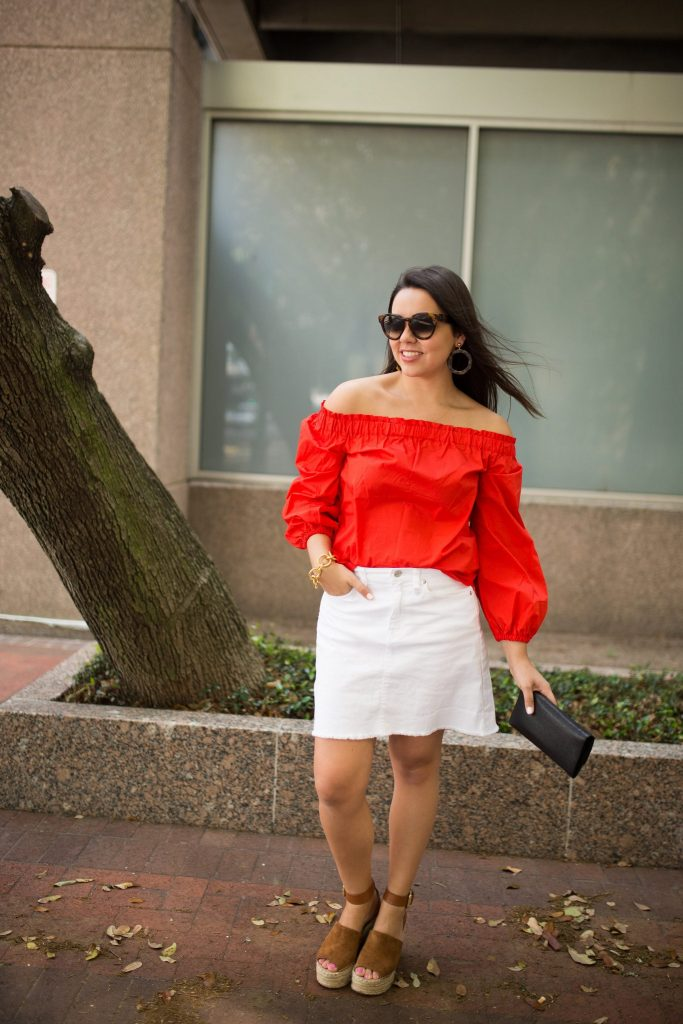 red off the shoulder cotton top