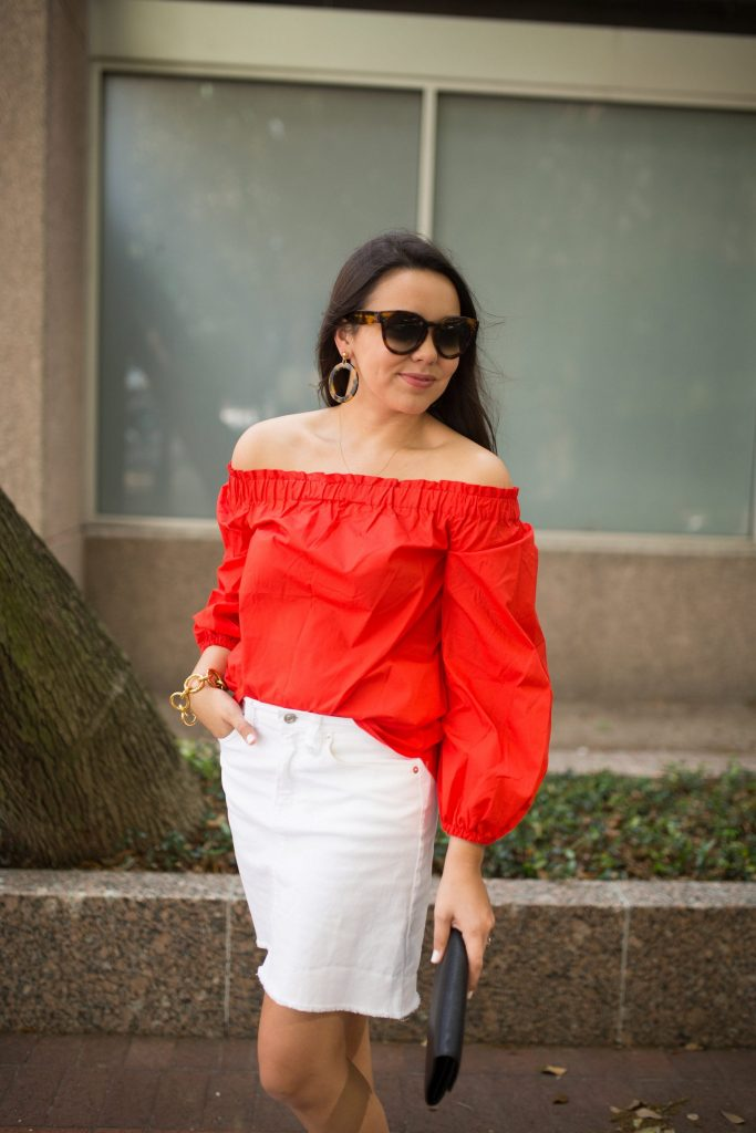 how to wear an off the shoulder top