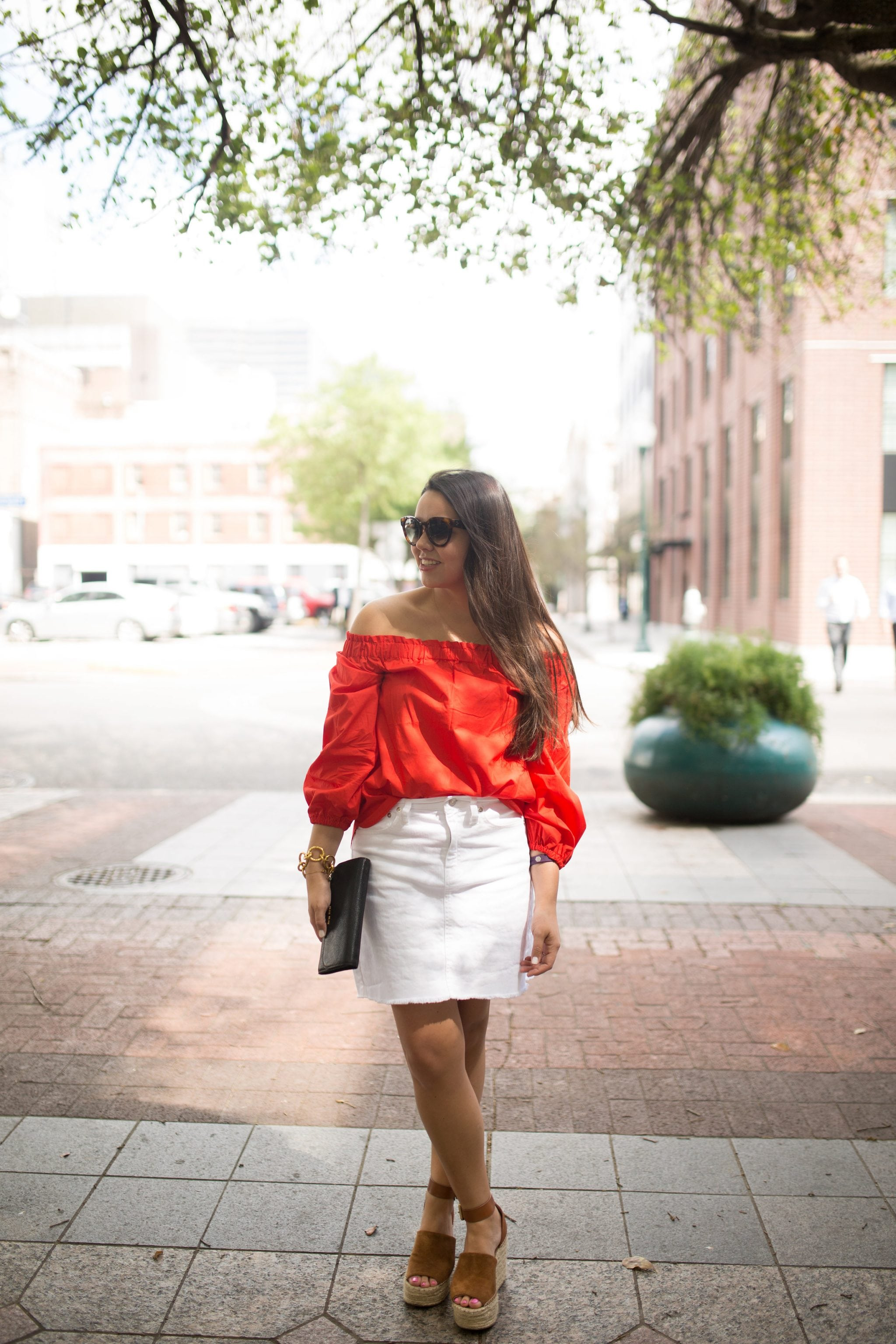 under $50 red off the shoulder top, white denim skirt