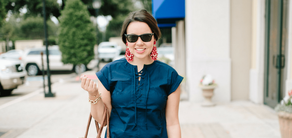 Navy Lace-Up Shirtdress
