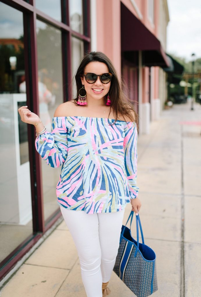 Lilly Pulitzer off the shoulder top | Indigo Sea Dreamin print