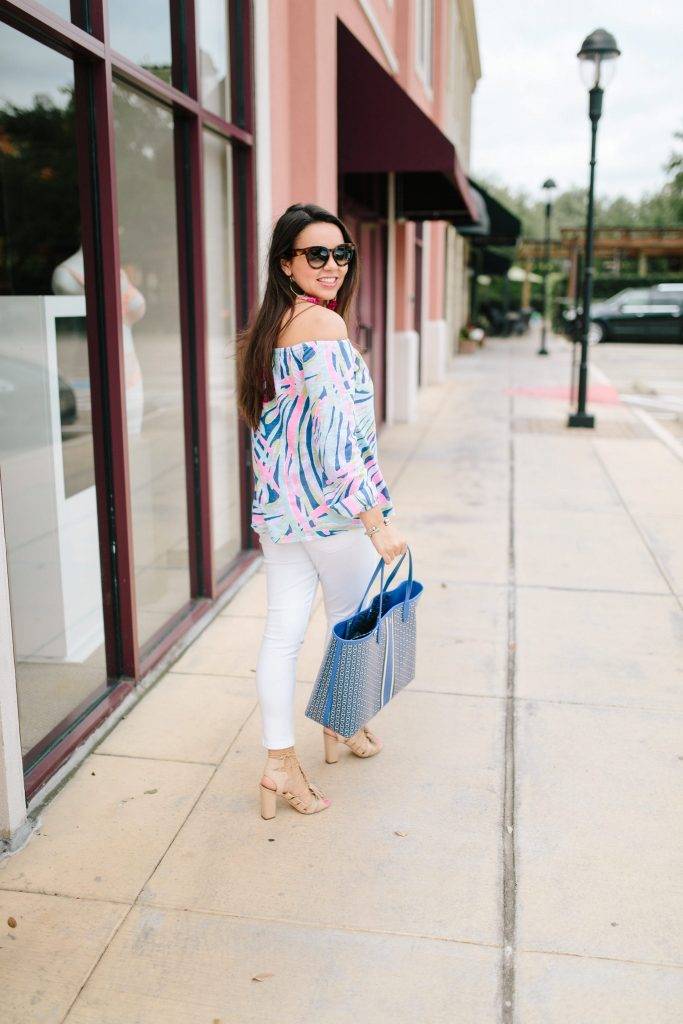Lilly Pulitzer off the shoulder top for summer