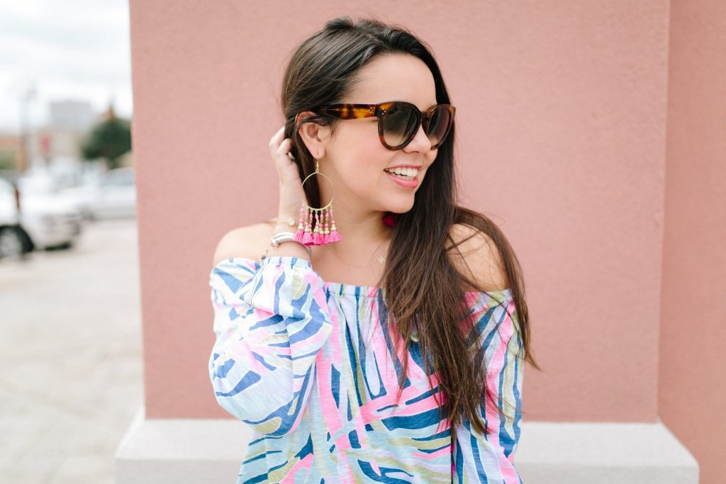 Enna Off the Shoulder Knit top | Lilly Pulitzer | Indigo Sea Dreaming