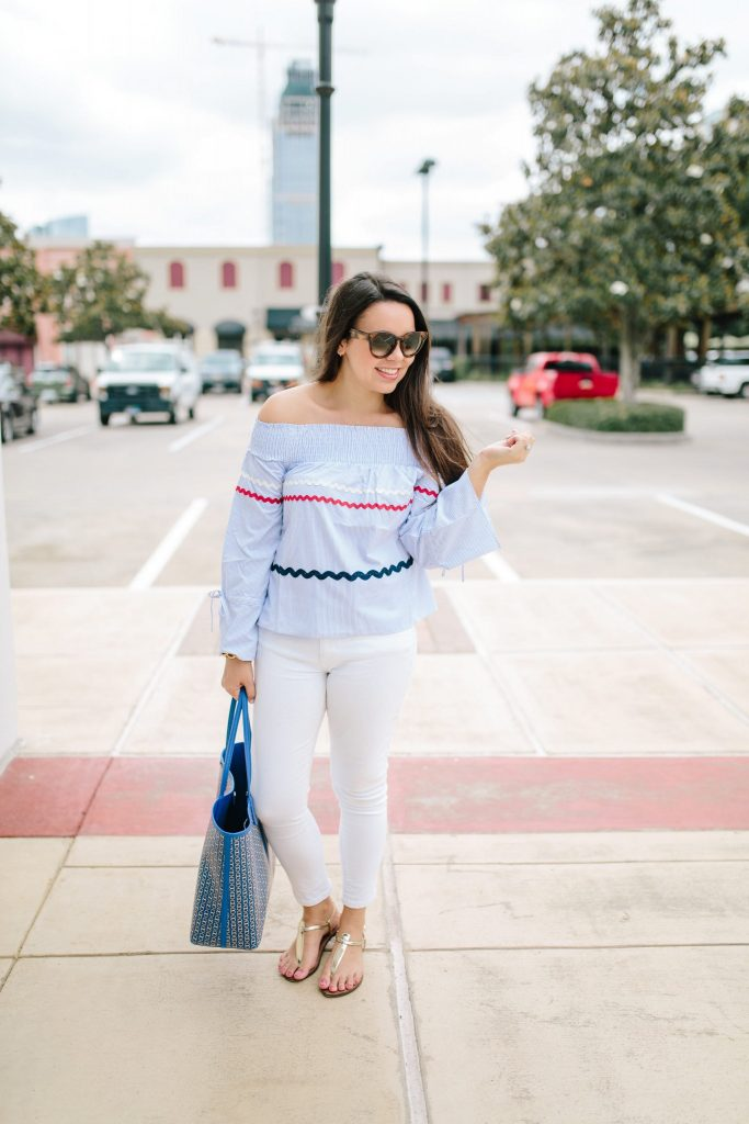 Rickrack off shoulder top | Patriotic style