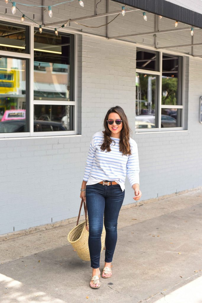 Jack Rogers Navajos | Summer style stripes | Striped tee and jeans