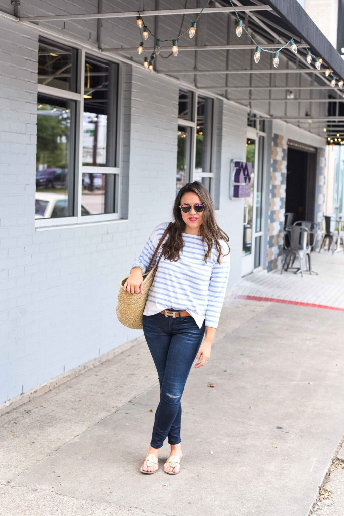 striped boatneck tee | preppy summer style | J.Crew stripes