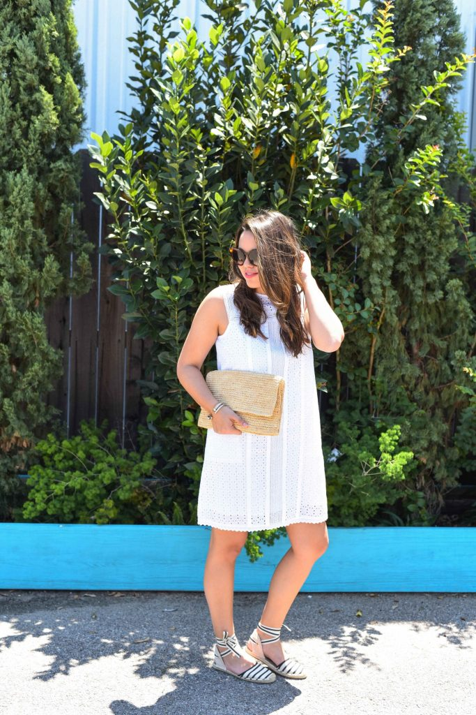 simple summer white eyelet dress | classic dress under $100 | striped espadrille flats