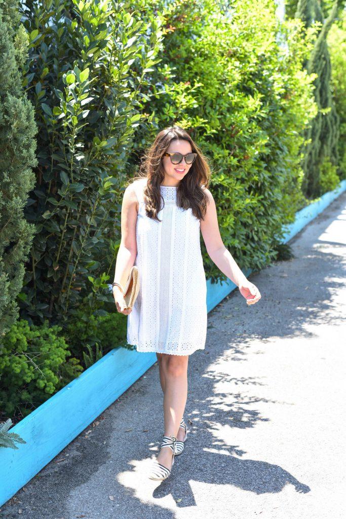 Summer white eyelet shift dress
